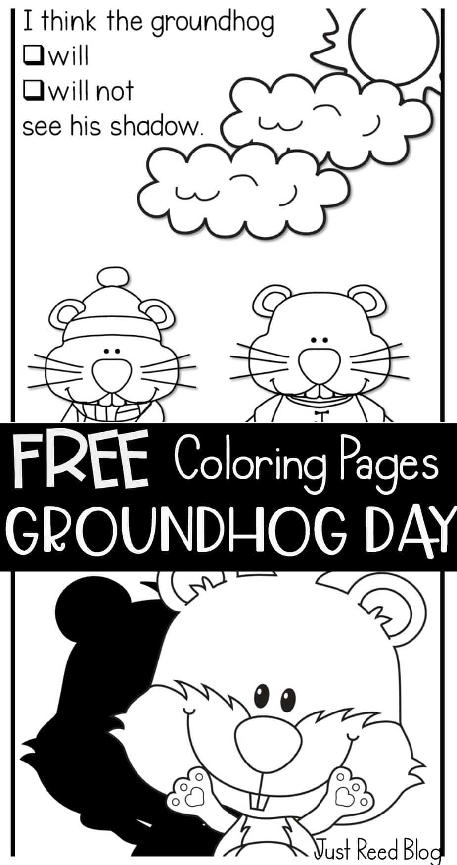 Pin Groundhog Day Clipart Black And White - Groundhog Day Coloring Pages  Free, HD Png Download , Transparent Png ... | 1747x924